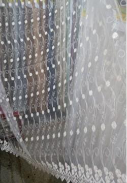 Органза микросетка молочная, машинная вышивка 815